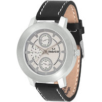 MARCO Analog Black Leather Watch For Men - 99248879