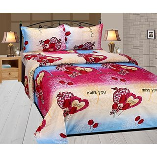 Home Luxurious Super Soft Designer Double Bed Sheet With 2 Pillow Covers