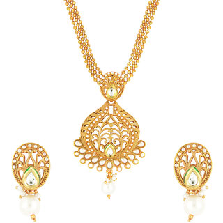 Traditional Bold Pear Kundan Designer Necklace set by Parisha with artificial pearl NL7070020