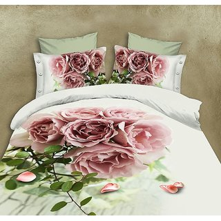 5D Pink Rose bunch Print Queen Size BedSheet With 2 Pillow Covers