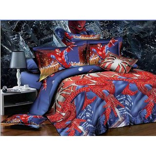 5D Spiderman super Hero Characters Print Queen Size BedSheet With 1 Pillow Cover