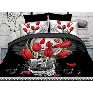 Belomoda 5D Floral Rose Print Queen Size Bedsheet With 2 Pillow Covers