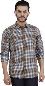 Lee Brown Slim Fit Full Sleeves Shirt For Men