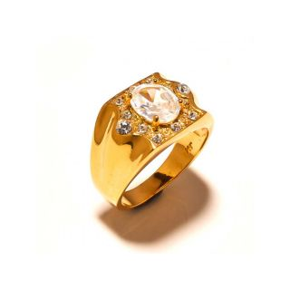 sanaa creations Gold Plated Ring for Men's with CZ on Top