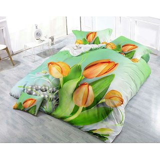 Belomoda 5D Exclusive Floral Printed Queen Size BedSheet With 2 Pillow Covers