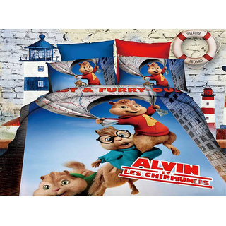 Belomoda 5D Alvin & Chipmunks Theme Printed Queen Size Bedsheet With 2 Pillow Covers