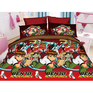 Belomoda 5D Ben 10 Theme Printed Queen Size Bedsheet With 1 Pillow Cover