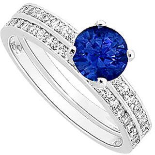 Comely Sapphire And Diamond Engagement Ring With Wedding Band Set With 14K White Gold