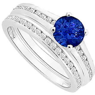 Divine Sapphire And Diamond Engagement Ring With Wedding Band Set With 14K White Gold
