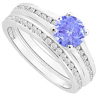 Enticing Tanzanite And Diamond Engagement Ring With Wedding Band Set With 14K White Gold