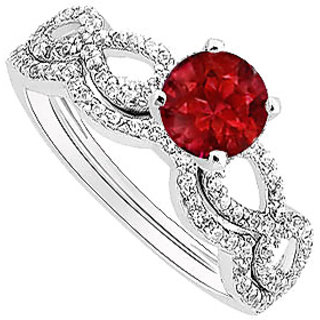 Delicate Ruby And Diamond Engagement Ring With Wedding Band Set With 14K White Gold
