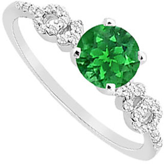 Dazzling Emerald And Diamond Engagement Ring With 14K White Gold Design 1