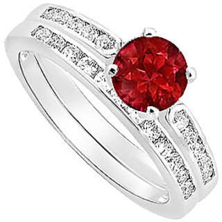 Bewitching Ruby And Diamond Engagement Ring With Wedding Band Set With 14K White Gold Design 2