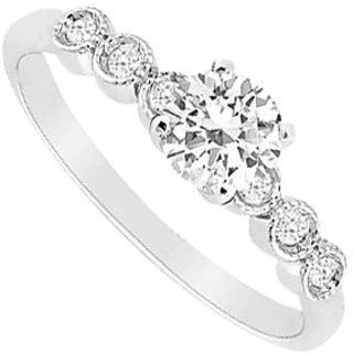 Delightful Diamond Engagement Ring With 14K White Gold Design 1