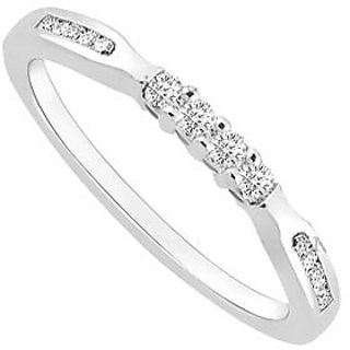 Classy Diamond Wedding Band With 14K White Gold Design 2
