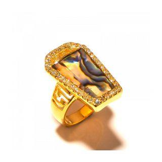 sanaa creations Green Gemstone Gold Plated Ring