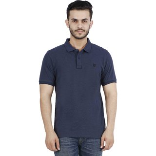 Lee Blue Polo Neck Solid T-Shirt For Men