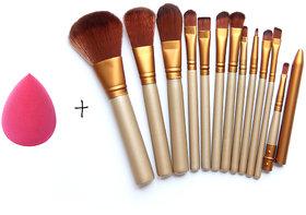 Magideal Makeup Brushes Set 12 Eyebrow Foundation Powder Eyeliner Lip Brushes 1 Puff