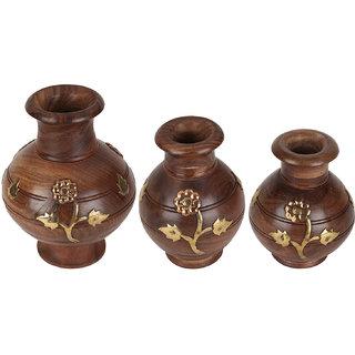 Wonder Crafts Brown Set of 3 Hand Carved Pot Set