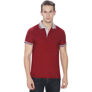 Baremoda Maroon Cotton Blended Polo T-Shirts