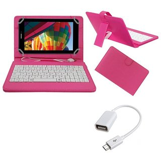 7inch Keyboard for Swipe W74 Tablet - Pink with OTG Cable by Krishty Enterprises
