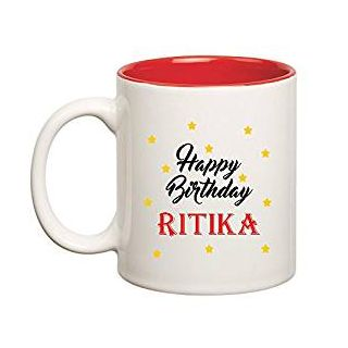 Huppme Happy Birthday Ritika Inner Red Ceramic Mug (350ml)