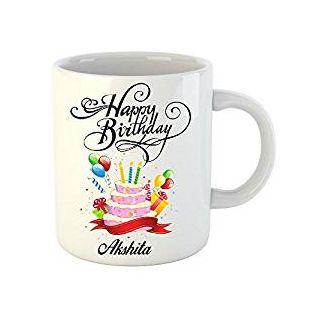 Huppme Happy Birthday Akshita White Ceramic Mug (350 ml)