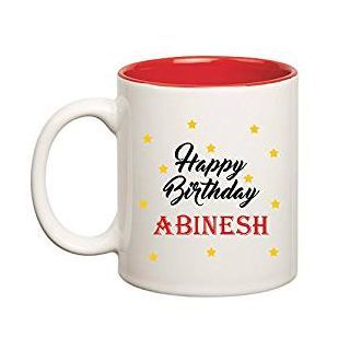 Huppme Happy Birthday Abinesh Inner Red Mug