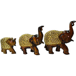 Narbman Set Of 3 Premium Quality Wooden Kundan Studded Elephants Showpiece
