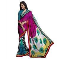 Triveni Multicolor Velvet Printed Saree With Blouse