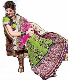 Triveni Black Net Embroidered Lehenga Saree With Blouse