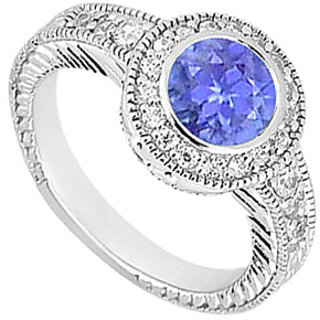 Ideal Tanzanite And Diamond Engagement Ring With 14K White Gold Design 1