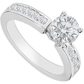 Lovely With 14K White Gold Diamond Engagement Ring