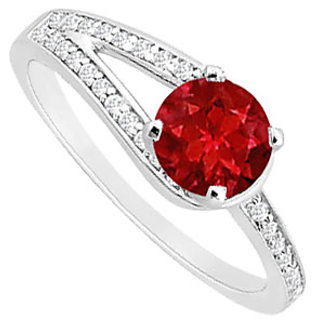 Marvelous Ruby And Diamond Engagement Ring With 14K White Gold Design 1