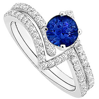 Fine Sapphire And Diamond Engagement Ring With Wedding Band Set With 14K White Gold