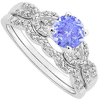 Magnificent Tanzanite And Diamond Engagement Ring With Wedding Band Set With 14K White Gold