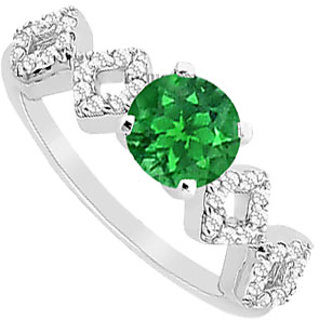 Magnificent Emerald And Diamond Engagement Ring With 14K White Gold Design 2