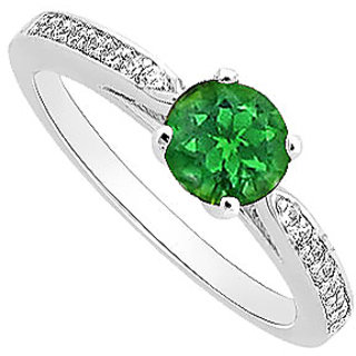 Lovely Emerald And Diamond Engagement Ring With 14K White Gold Design 2