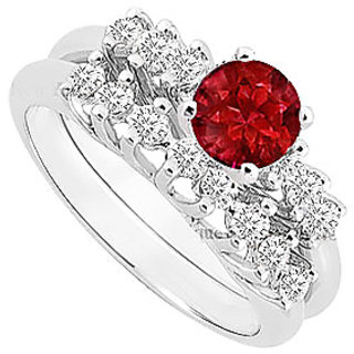 Marvelous Ruby And Diamond Engagement Ring With Wedding Band Set With 14K White Gold