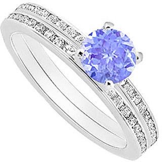 Fine Tanzanite And Diamond Engagement Ring With Wedding Band Set With 14K White Gold