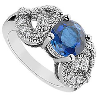 Handsome Diffuse Sapphire And Cubic Zirconia Ring 10K White Gold