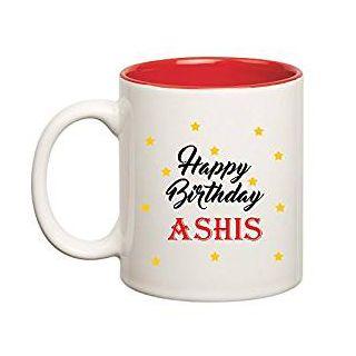 Huppme Happy Birthday Ashis Inner Red Mug