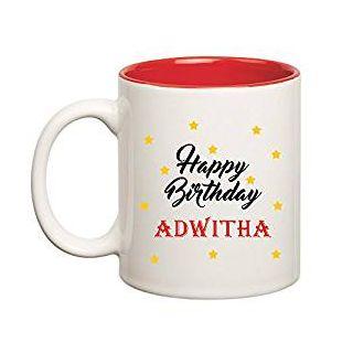 Huppme Happy Birthday Adwitha Inner Red Mug