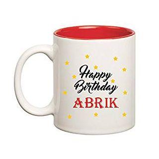 Huppme Happy Birthday Abrik Inner Red Mug