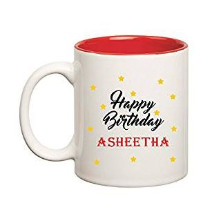 Huppme Happy Birthday Asheetha Inner Red Mug