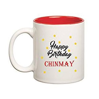 Huppme Happy Birthday Chinmay Inner Red Ceramic Mug (350ml)