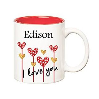 Huppme I Love You Edison Inner Red Ceramic Mug (350 ml)
