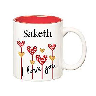 Huppme I Love You Saketh Inner Red Ceramic Mug (350 ml)