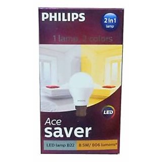 Philips LED Bulb 2IN1 8.5W (White and Yellow)