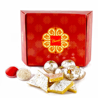 Assorted Kaju Sweets with Tikka for Bhai Dhooj